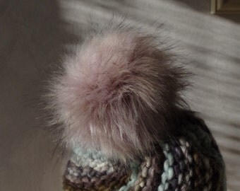 Merino Wool Hat with fur PomPoms