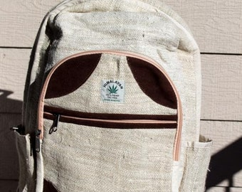 Back to School 20% off with code BACK2SCHOOL, Handmade Hemp Backpack, designed in the Himalayas, THC free