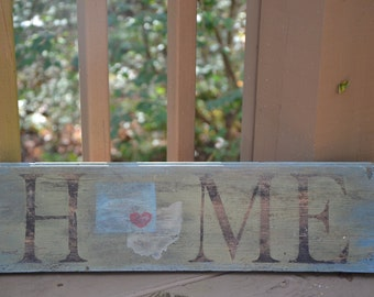 Custom Home & State(s) Wall Sign- Paint accent, Rustic, Handmade