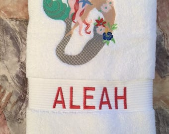 Personalized towel, Personalized bath towel, Character towel, Personal beach towel, Personal character towel, Embroidered towel, Mermaid