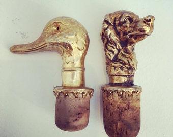 Metal wine stoppers Bottle Stoppers vintage old gold color bartender a Duck cork dog cork bartenders