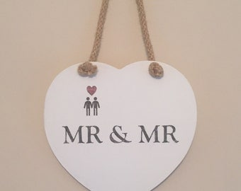 Mr & Mr hanging heart plaque