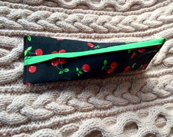 Knitters or Crocheters Notions Pouch. Ripe cherries.