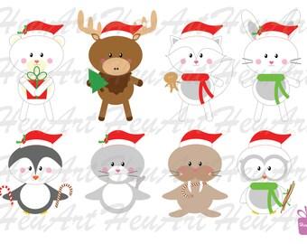 NEW Cute Arctic Animals Clipart - Penguin Printables, Cute Animal Artwork, Cute Animals Stickers, Cute Animals DIY, Cute Arctic Cards
