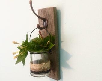 Rustic Wall Vase, Mason Jar, wall Plqnter, Rustic Decor Australia