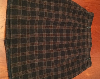VTG Brown Wool Plaid Mini Skirt with Leather Belt Loops (S)