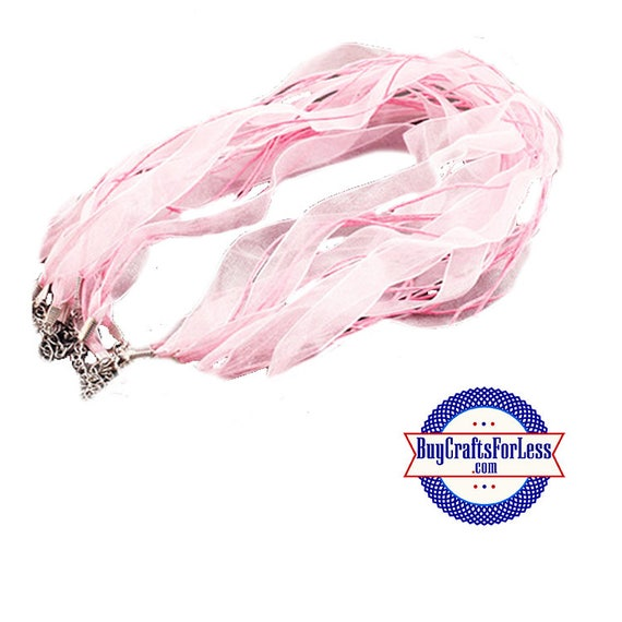 Ribbon CORD necklace, light PINK **FREE Shipping with orders 10 dollars+**