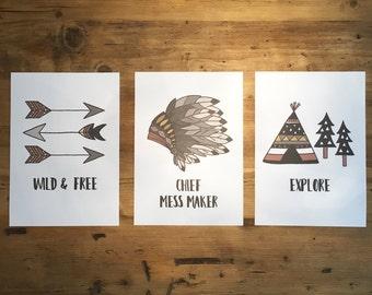 Set of 3 A4 Tribal/Explorer Inspired Kids prints