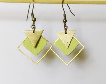 Earrings diamond leather green spring / summer