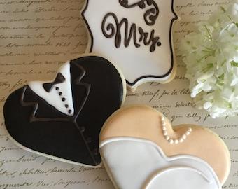 1 Dozen Mr & Mrs Wedding Hearts Sugar Cookies