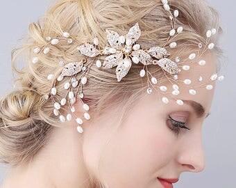 Bridal Hair Piece,Diamante Bridal Headpiece, Wedding Hair Vine, Bridal Hair Piece, Bridesmaid Gold Wedding Hair Party Accessories,Gift Ideas