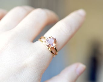 Champagne Tourmaline Ring 18K Gold Engagement Ring Rose Gold Diamond Ring 14K gold Gemstone Engagement Ring 14K Rose Gold Engagement Ring
