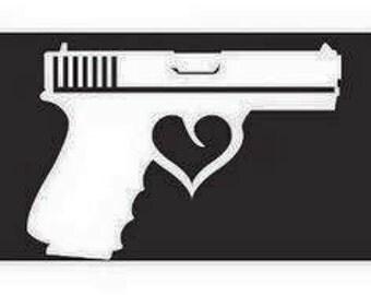 Cute Gun Sticker w/ Heart trigger