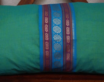 Rainbow sky 10 series: South India cover 30x50cm (12 x 20 inches) cushion, cotton lined with embroidered braid. Blue-green color.
