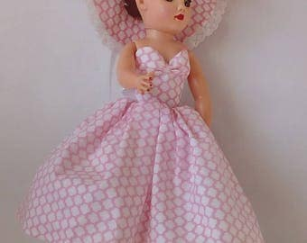 Pink and white unique pattern dress for 18 inch Miss Revlon doll and friends
