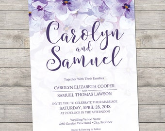 Purple Hydrangea Printable Invitations - Thank You Card - Details Card - RSVP - DIY - Print Them Yourself!