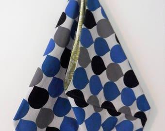 Beach Bag, Hobo Slouch Bag, Bento Origami Bag, Blue, Grey & Black Bag, Japanese Style Bag, Unique Summer Bag, Large Market Bag