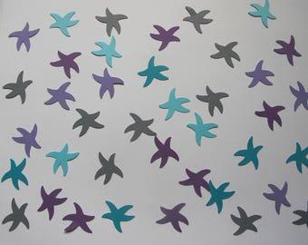 Purple, Blue, and Grey Starfish Confetti - Mermaid Party Decorations - Beach Theme Decorations - Starfish Decorations - Girl Birthday Party