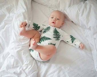 Baby bodysuit, baby onepiece, organic cotton, onesie, short sleeve bodysuit, Fern, baby boy bodysuit, baby girl bodysuit baby clothes