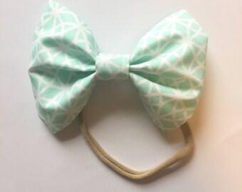 Mint bow/hairbow/hair bow/toddler headband/baby hair clip/nylon headband