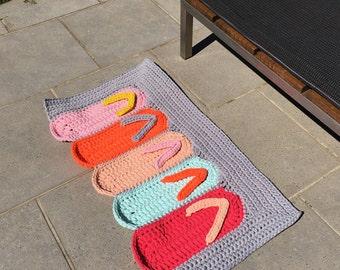 Crochet Rug, T-shirt Yarn Rug, Handmade Rug