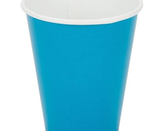 25 Ct Turquoise Poly Paper Cups 9oz Hot/Cold, Party Supplies, Wedding Supplies, Party, Wedding, Paper Cups, Beverage Cups, Cups, Supplies