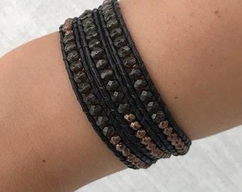 Smokey crystal & bronze nugget leather wrap bracelet - handmade - UK seller
