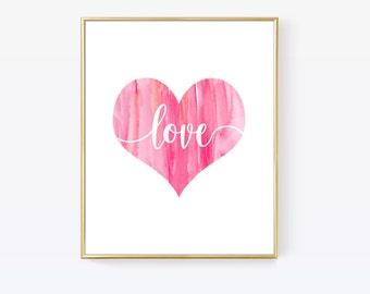love heart print love heart art valentine print