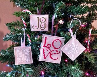 KIT, Love Joy and Snowflakes Ornament Cross Stitch KIT, Christmas Cross Stitch Patterns, Christmas Cross Stitch Ornaments
