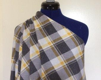 Plaid Stretch Knit Fabric Yellow & Gray 2.5 Yds