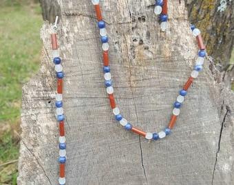 Tricolor necklace, bracelet and earring set