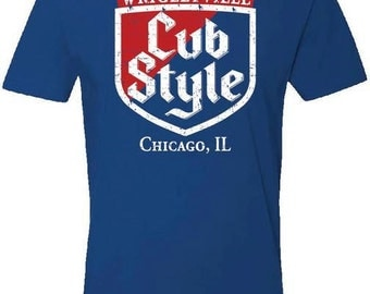 Chicago Cubs Wrigley Field Win Cub Style T-Shirt FREE SHIPPING (S,M,L,XL)
