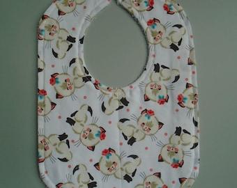 Baby bib, Cotton and terry cloth baby bib, Baby shower gift, Baby girl bib, Cat print, Newborn and baby gift