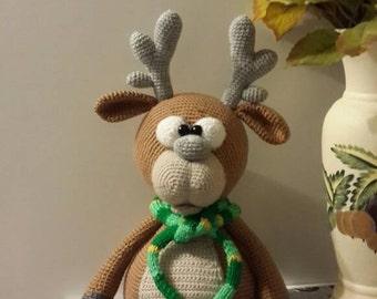 Big crochet reindeer/ crochet reindeer/ handmade reindeer/ crochet toy/ stuffed reindeer/ crochet amigurumi