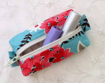 Small zip purse - turquoise flower fabric