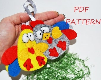 Christmas Easter rooster PDF file Pattern DIY handmade toy felt wall christmas tree