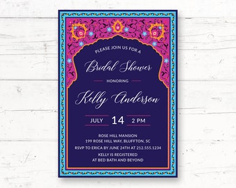 Moroccan Bridal Shower or Baby Shower Printable Invitation, Arabian Nights, Arabic Custom Printable Invite