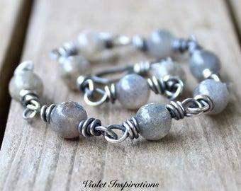 Labradorite and Sterling Silver Bracelet / Wire Wrapped Bracelet / Wire Wrapped Jewelry / Labradorite Jewelry / Sterling Silver Bracelet