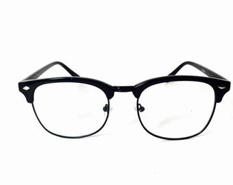 Jet Black Clear Lens Clubmaster Style Transparent Browline Frame Glasses