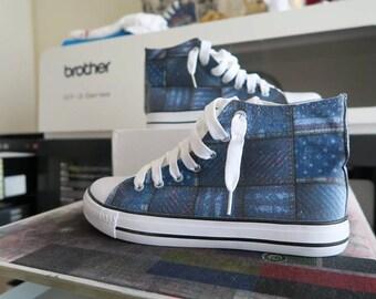 American Denim Hi Top Converse All Star shoes