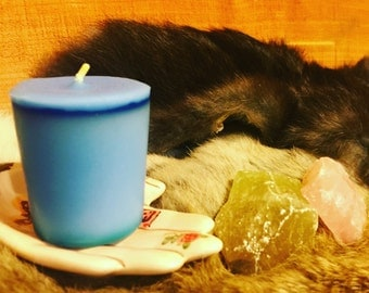 Psychic & Spiritual Growth Spell Votive Candle - Blue Candle  Artisan Made Herbal Infusion Wicca Ritual Altar Spell Candle