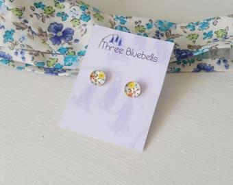 Pretty floral stud earrings, glass cabochon earrings