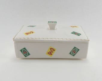Enesco Imports Japan S & H and Top Value Stamp Porcelain Dish With Lid - E-2162 - Green Stamps Holder - Grocery Store Reward Program