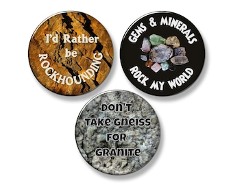 "ROCKHOUND Fridge Magnet Set - 3 Large 2.25"" Round Magnets (Set #1)"