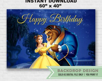 Beauty And The Beast Backdrop INSTANT Download Digital File Only