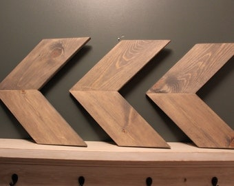 Chevron Arrows, Wood Chevrons, Stained Grey, Gray, Rustic Wall Decor, Set of 3