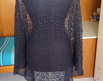 Midnight blue lace triangular shawl.