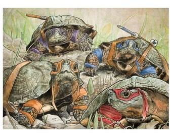 Teenage Mutant Ninja Turtles, Animals in 1980s Comics Costume, Art Print