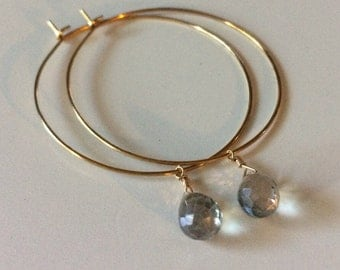 Gold plated hoops with blue-green mystic quartz briolette.