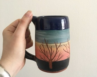 Handmade ceramic sunset mug, fully functional, beautiful New England detail, maple tree, nature silhouette